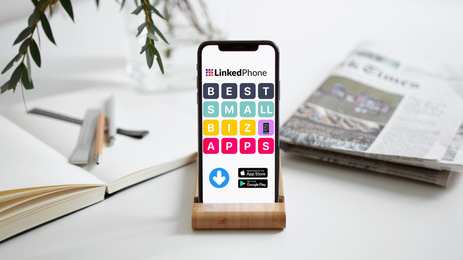 Image of Phone with Mobile Apps - Written Title Best Small Business Productivity Apps for iOS iPhone and Google Android Phone