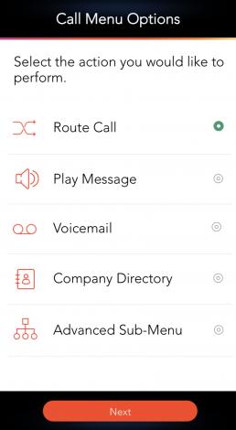 Virtual Receptionist and Call Menu Options LinkedPhone Mobile App Screenshot