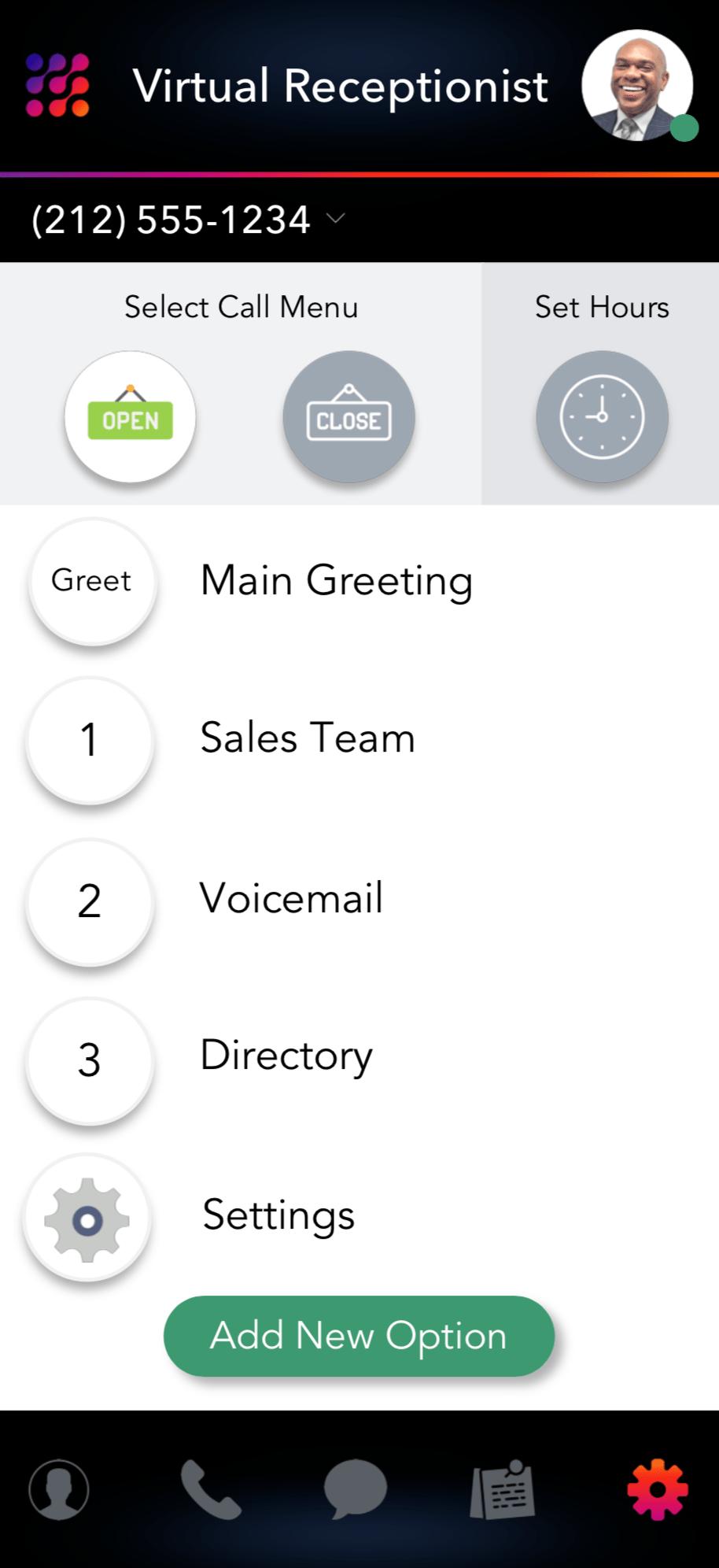LinkedPhone Mobile App Screenshot of Call Menu Options Configurations