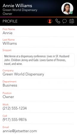 LinkedPhone Mobile App Screenshot of Contact Profile Fields