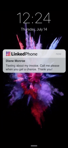 LinkedPhone Mobile App Screenshot of Incoming Business Text Message Notification