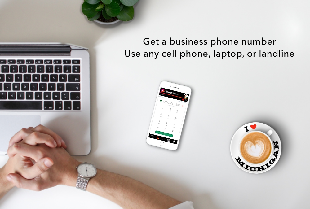 Laptop and Mobile Cell Phone with Michigan Phone Number for Business and I Love Michigan Coffee Mug