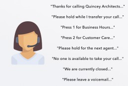 Virtual Receptionist Icon with Call Menu Option Quotes Cloud-Based Virtual Small Business Phone System