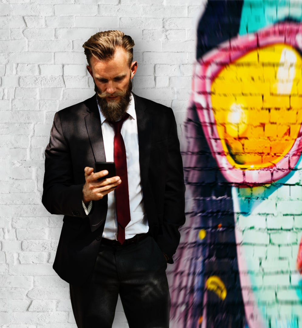 Man on phone with mobile app for business talk & text
