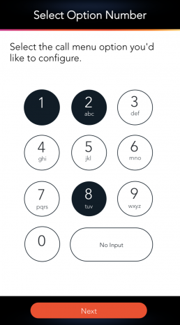 Virtual Receptionist and Select Available Option Number LinkedPhone Mobile App Screenshot