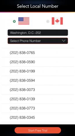 LinkedPhone Mobile App Screenshot of Select Local Area Code Business Phone Number