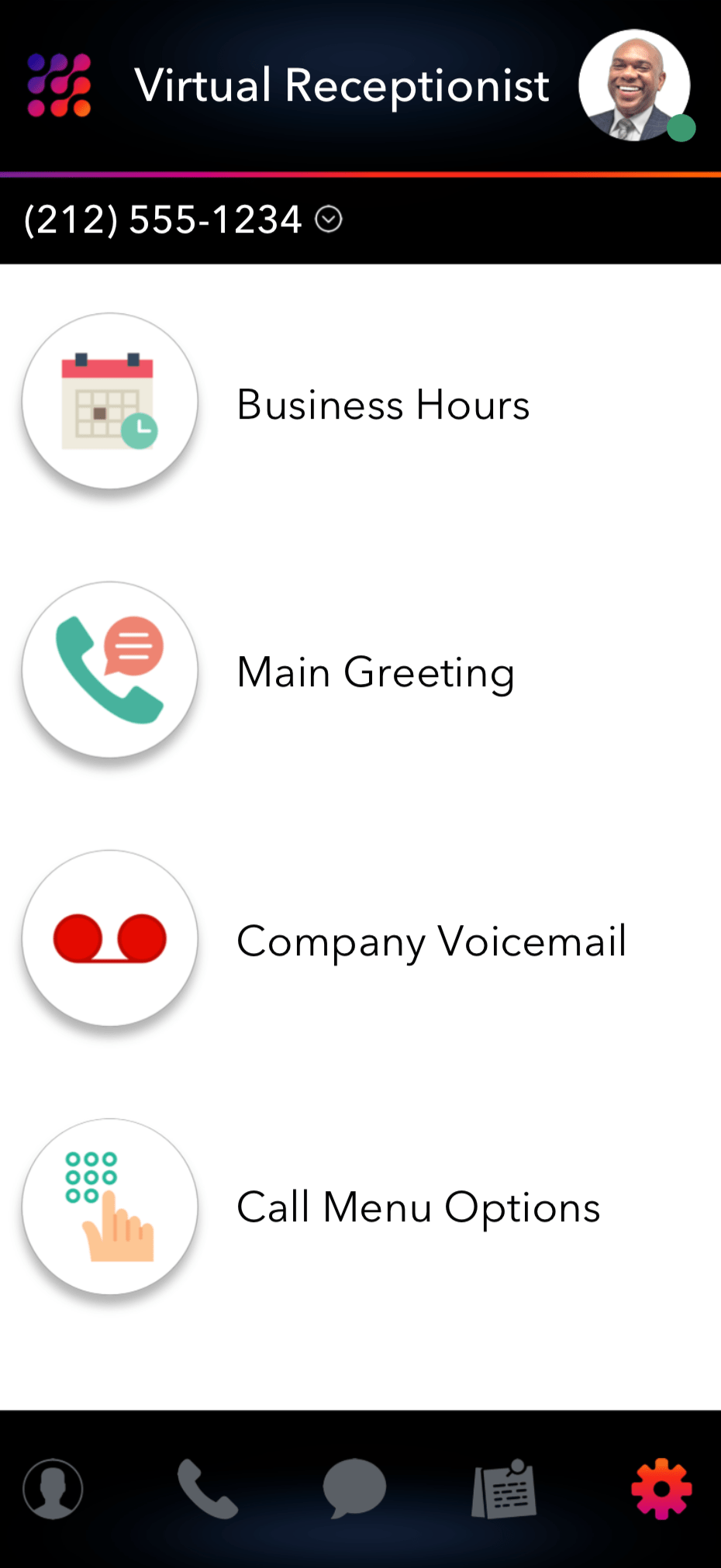 LinkedPhone Mobile App Screenshot of Business Hours Welcome Greeting and Voicemail