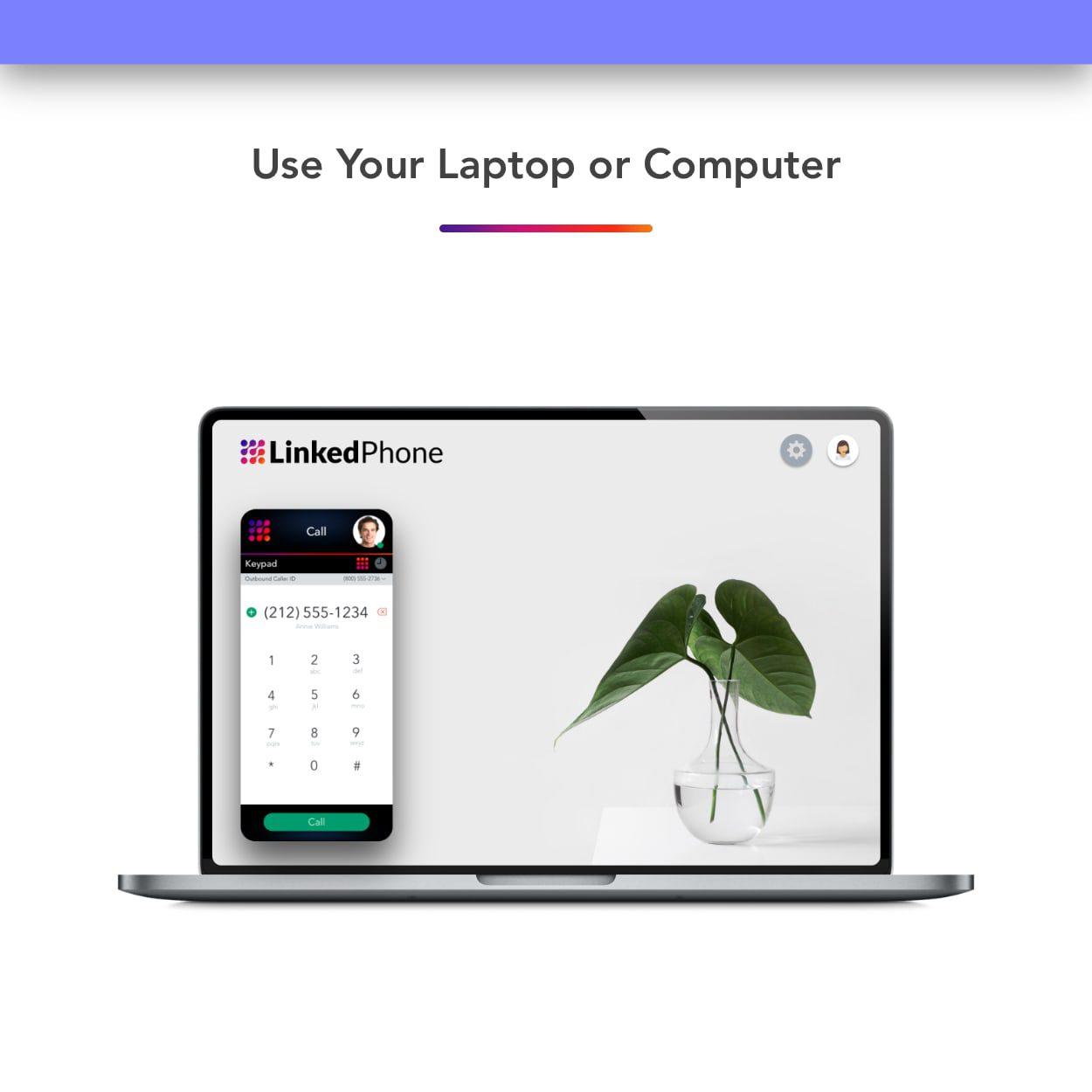 Laptop Computer Using LinkedPhone Virtual Phone System online Web Browser