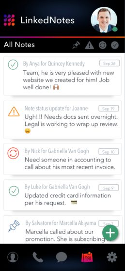 LinkedNotes Mobile App CRM Stream for All Customers Screenshot
