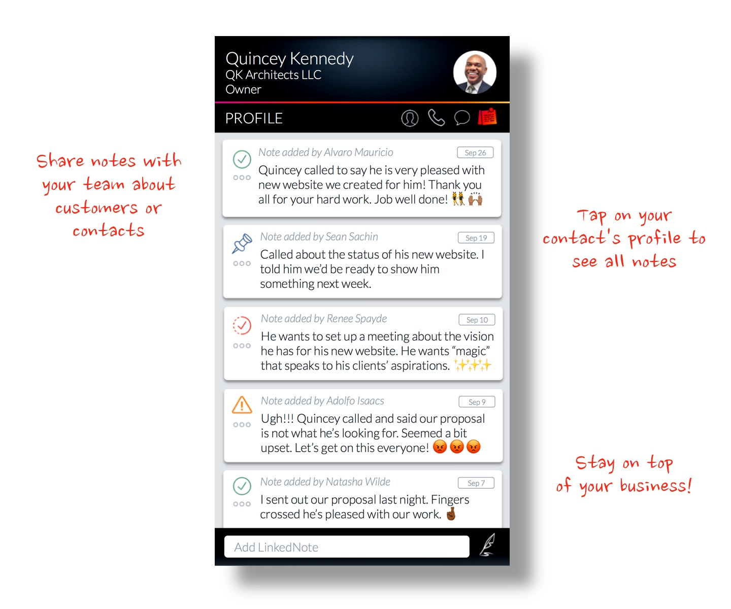 Keep track of business conversations & to-do's with LinkedNotes