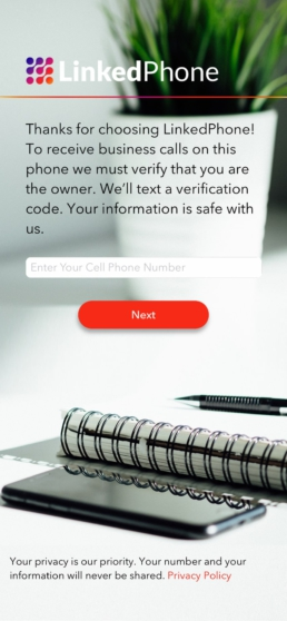 LinkedPhone App Screenshot - Enter Cell Phone Number to Sign Up