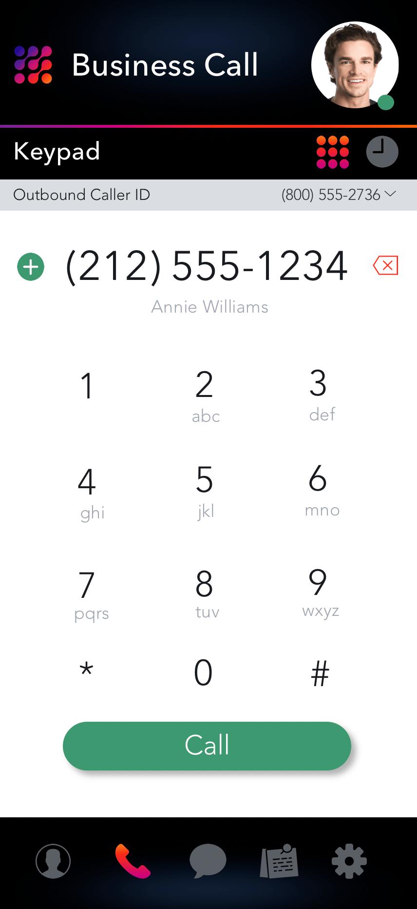 LinkedPhone Mobile App Screenshot of Phone Keypad and Business Caller ID