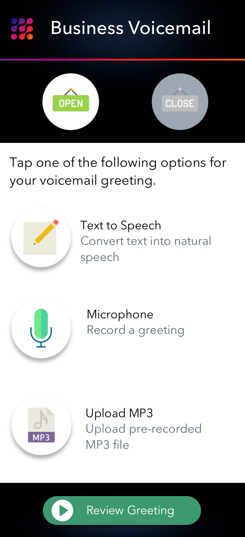 LinkedPhone Mobile App Screenshot of Record Business Voicemail Greetings