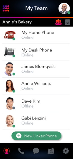 LinkedPhone Mobile App Screenshot of Team Contacts and Colleaues