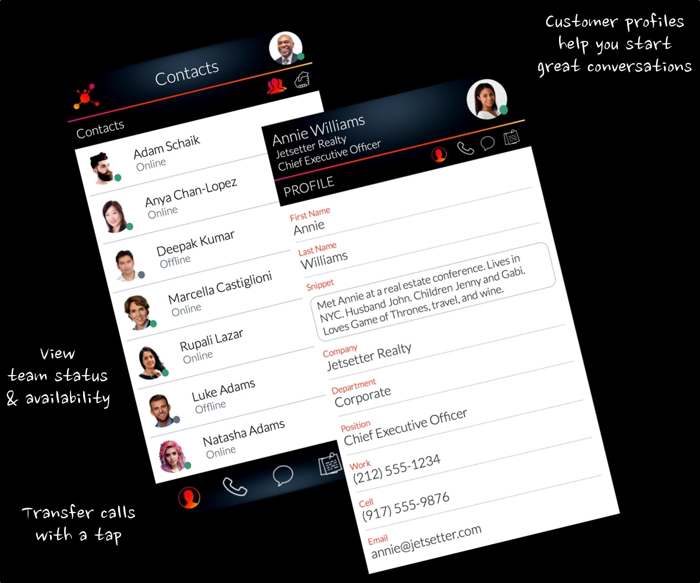 LinkedPhone App - Business Phone System Contacts Screenshots