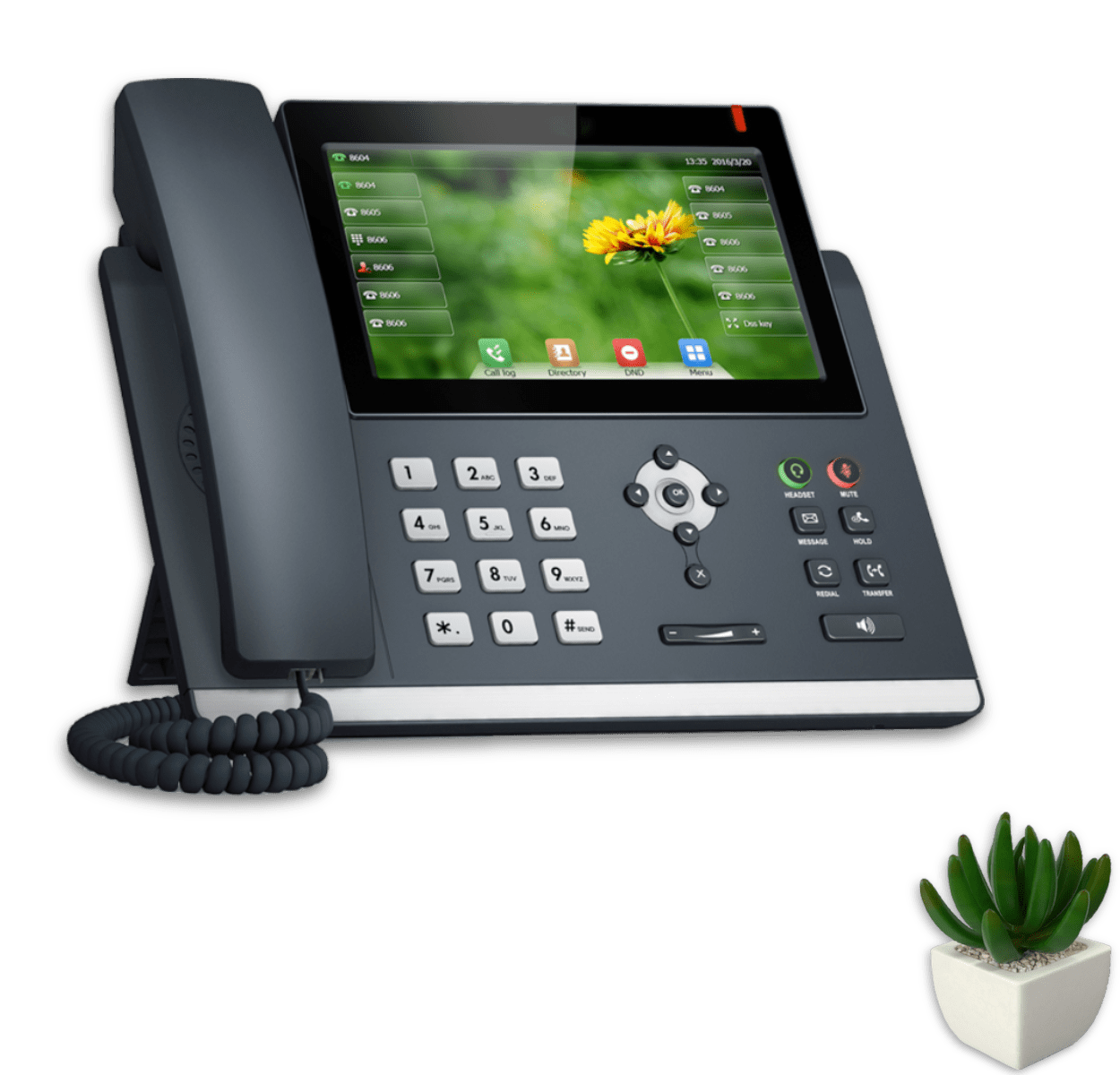 Plant, Notebook and Office VoIP IP Phone or Landline connected to LinkedPhone Virtual Phone System