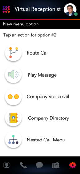 Virtual Receptionist and Call Menu Options LinkedPhone Mobile App Screenshot