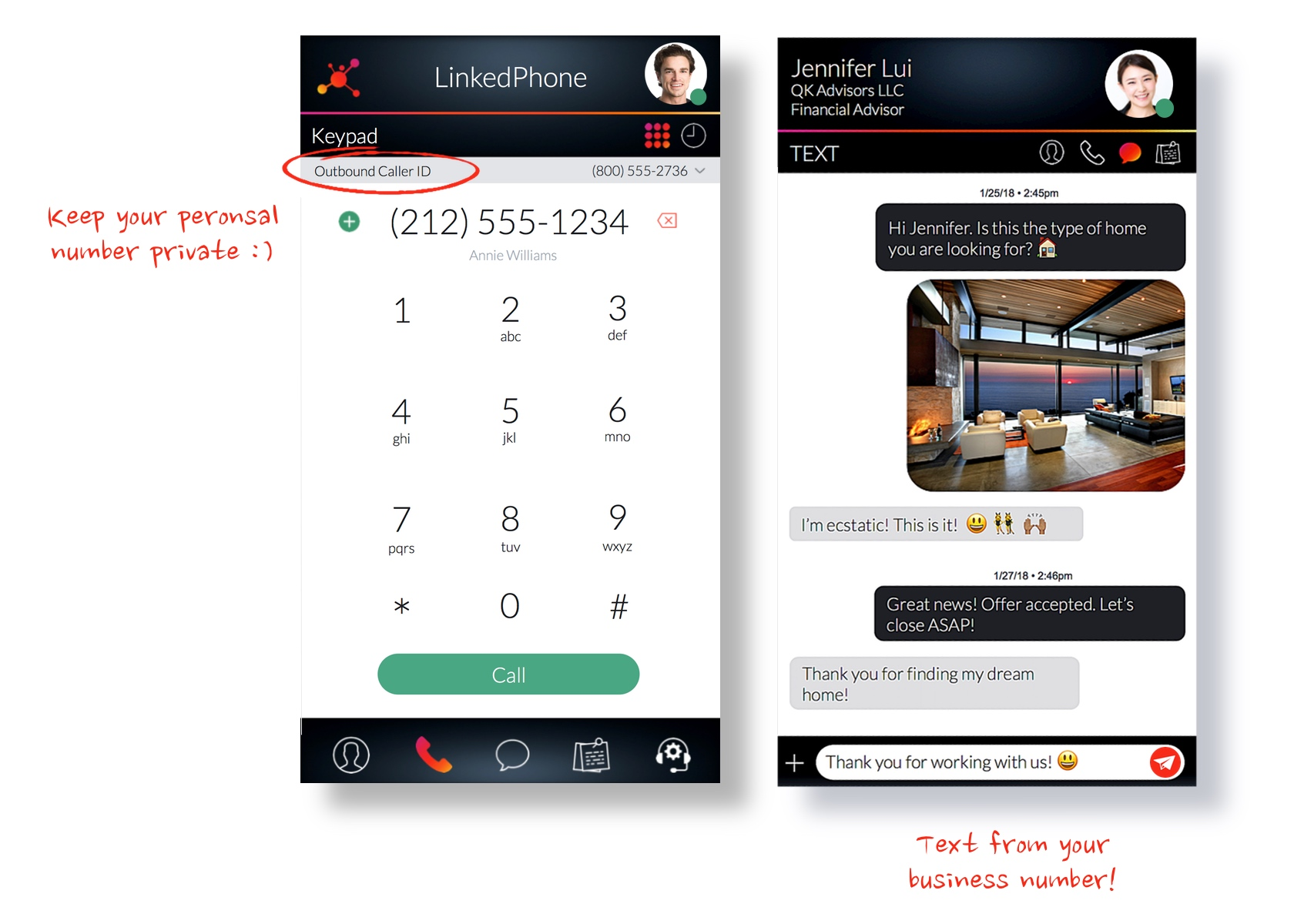 LinkedPhone App Unlimited Business Talk & Text On Your Cell Phone