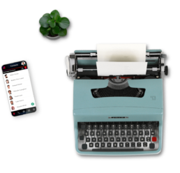 Typewriter, Plant, and Mobile Phone with Screenshot of LinkedPhone Mobile App Dialpad - LinkedPhone Virtual Phone System for Business